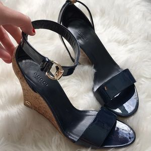 Brand new Gucci navy blue wedges